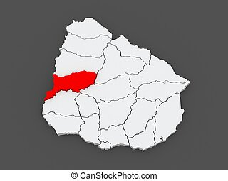 Map of Rio Negro. Uruguay. 3d