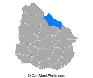 Map of Rivera in Uruguay