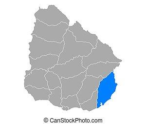 Map of Rocha in Uruguay