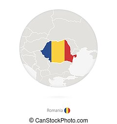 Map of Romania and national flag in a circle.