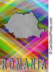Map of Romania, colorful background