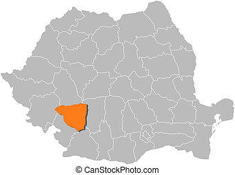 Map of Romania, Gorj highlighted - Political map of Romania...