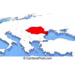 Map of Romania on globe