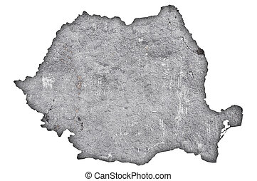 Map of Romania on weathered concrete