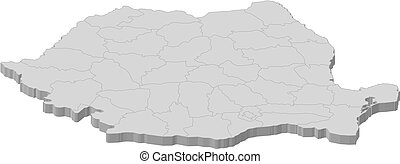 Map of Romania - Political map of Romania with the several...