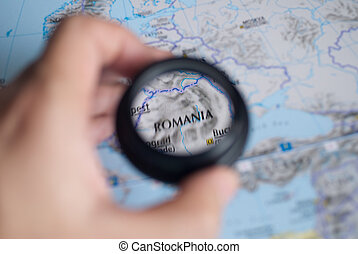 Selective focus on antique map of Romania
