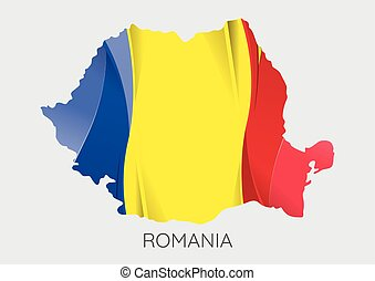 Map of Romania - Map Of Romania With Flag As Texture...