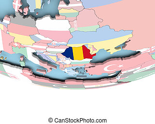 Map of Romania with flag on globe