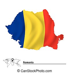 Map of Romania with flag