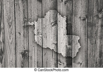 Map of Rondonia on weathered wood