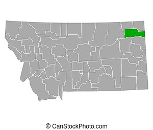 Map of Roosevelt in Montana