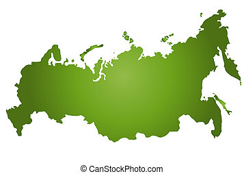 An outlined map of Russia in green tone. All isolated on white background.