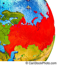 Map of Russia on 3D Earth