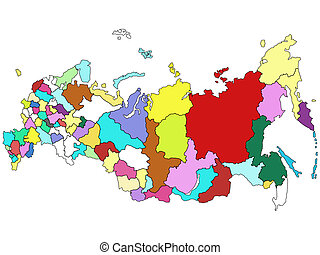 Map of Russia on a white background