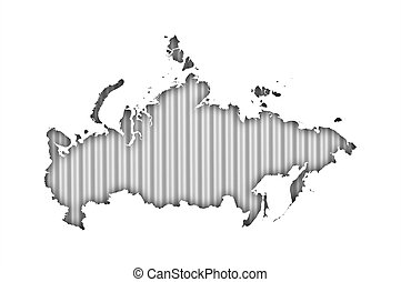 Map of Russia on corrugated iron