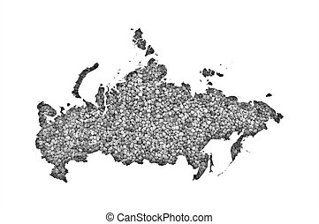 Map of Russia on poppy seeds