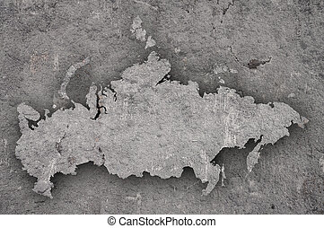 Map of Russia on weathered concrete
