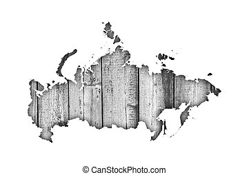 Map of Russia on weathered wood