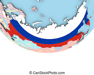 Map of Russia with flag on globe