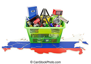 Map of Russia with shopping basket full of home and kitchen appliances, 3D rendering