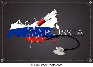 Map of Russia with Stethoscope and syringe.