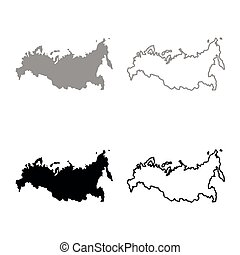 Map of Russian icon set grey black color