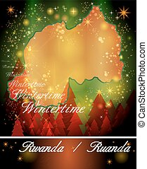 Map of Rwanda in Christmas Design