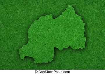 Map of Rwanda on green felt