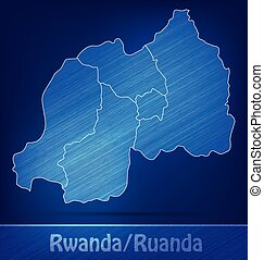 Map of Rwanda with borders as scrible