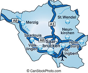 Map Of Saarland As An Overview Map In Green