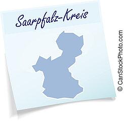 Map of Saarpfalz-Kreis as sticky note in blue