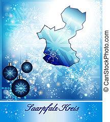 Map of Saarpfalz-Kreis in Christmas Design in blue