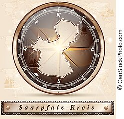 Map of Saarpfalz-Kreis with borders in bronze