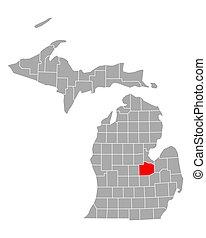 Map of Saginaw in Michigan