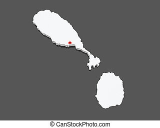 Map of Saint Kitts and Nevis.