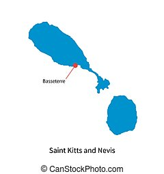 Map of Saint Kitts and Nevis with capital city Basseterre -...