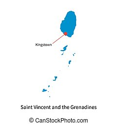 Map of Saint Vincent and the Grenadines with capital city -...