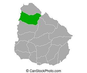 Map of Salto in Uruguay