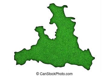 Map of Salzburg on green felt