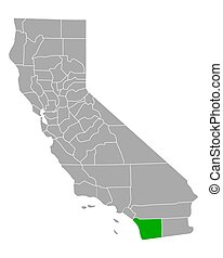 Map of San Diego in California
