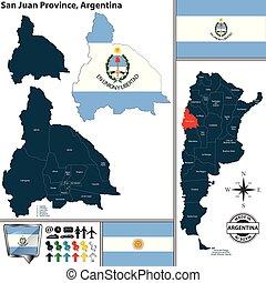 Map of San Juan Province, Argentina