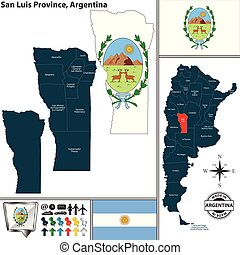 Map of San Luis Province, Argentina