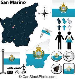Map of San Marino - Vector of San Marino set with detailed ...