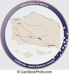 Round button with detailed map of Santa Barbara County in California, USA.