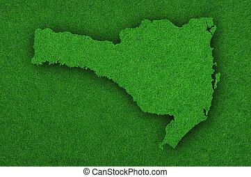 Map of Santa Catarina on green felt