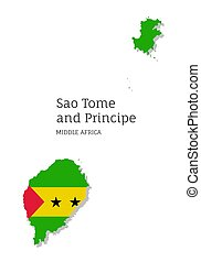 Map of Sao Tome and Principe. Highly detailed map of Middle Africa country with national flag. Political or geographical design vector illustration on white background