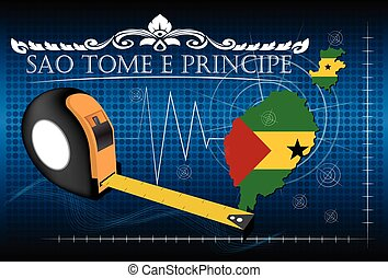 Map of Sao tome e principe with ruler, vector.