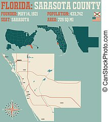 Large and detailed map of Sarasota county in Florida, USA.