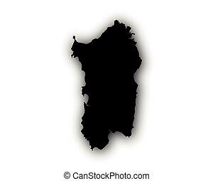 Map of Sardinia with shadow