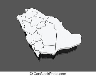 Map of Saudi Arabia. 3d